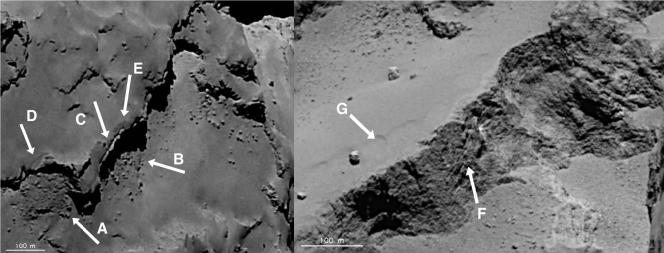 Exemples de paysages chamboulés de la comète saisis par Rosetta.