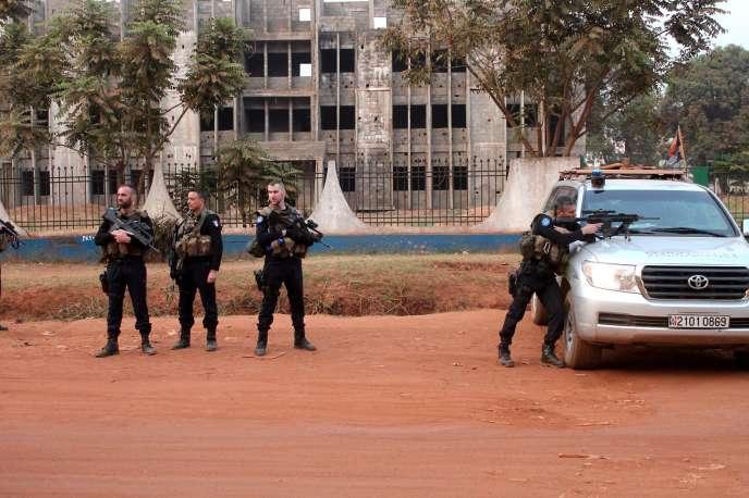 Des gendarmes français à Bangui, le 20 janvier.