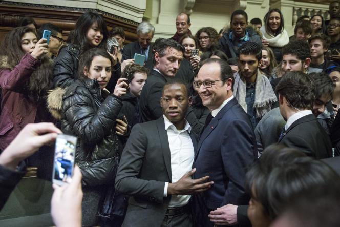 François Hollande, lors de ses vœux au monde de l'éducation à la Sorbonne, à Paris, mercredi 21janvier.