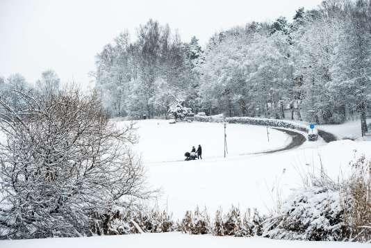 Vue d'un parc sous la neige à Stockholm. Les prix de l'immobilier ancien ont bondi de 5 % en Suède en 2014, et de 6 % dans la capitale.