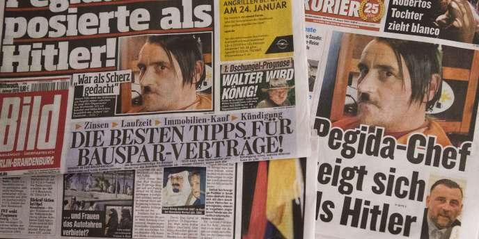 Lutz Bachmann, le fondateur de Pegida, fait les «unes» de la presse allemande grimé en Hitler.