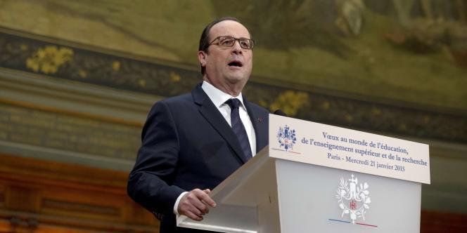 François Hollande à la Sorbonne, mercredi 21 janvier 2015.