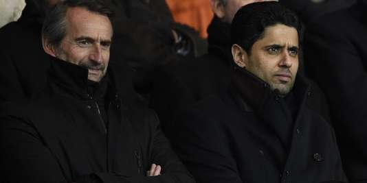 Jean-Claude Blanc (à gauche), directeur général délégué du PSG, et son président Nasser Al-Khelaïfi, le 21janvier, au Parc des princes.