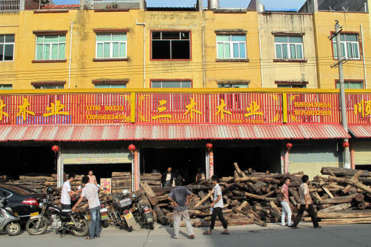 """La """"rue du bois"""" de Xianyou est une enfilade de petits entrepôts proposant des bois précieux venant d'Asie et de quelques pays d'Afrique comme le Mozambique ou la Tanzanie. Le bois de rose de Madagascar n'y est pas vendu."""