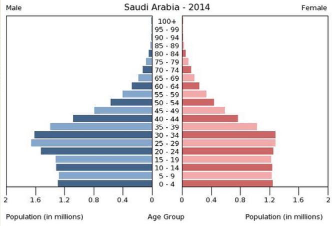 La pyramide des âges en Arabie saoudite