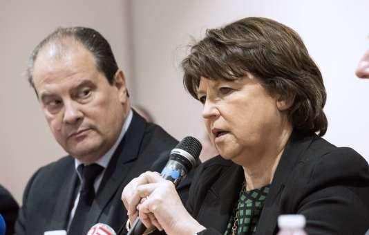 Jean-Christophe Cambadélis et Martine Aubry, le 23 janvier 2015 à Lille.
