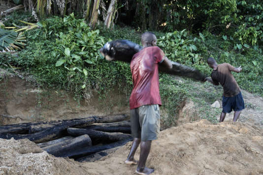 Sur une rive de la rivière Iagnobé près du village d'Antanandavehely, des hommes cachent dans le sable des troncs de bois de rose coupés illégalement dans le parc national de Masoala.