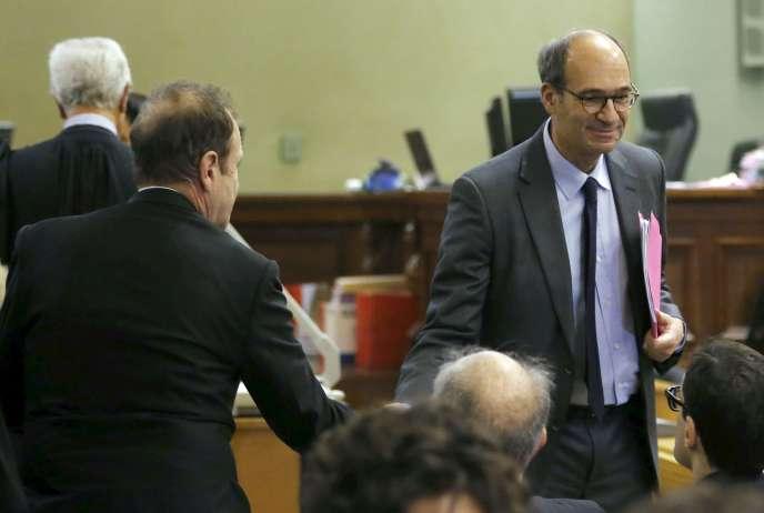 Eric Woerth et Francois-Marie Banier au tribunal de Bordeaux, en janvier.