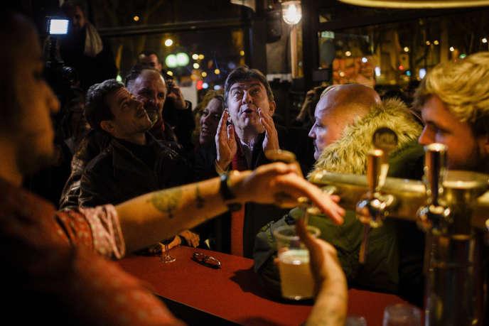 Jean-Luc Mélenchon à la soirée du Front de gauche pour les législatives grecques, le 25 janvier, à Paris.