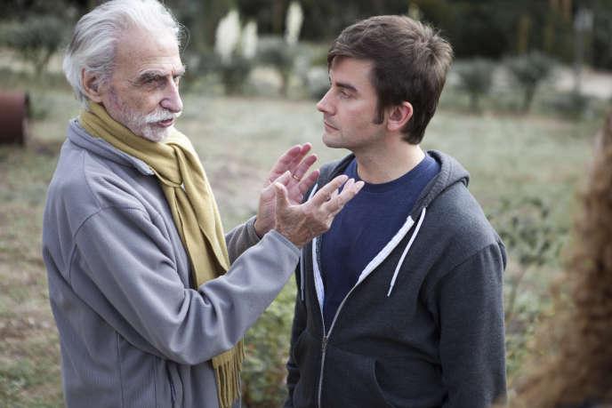 Paul Vecchiali avec le comédien Pascal Cervo, sur le tournage de