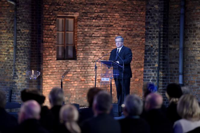 Le président polonais Bronislaw Komorowski, pendant la cérémonie des 70 ans de la libération d'Auschwitz, le 27 janvier.