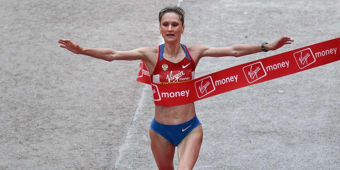 La Russe Lilia Choboukhova au marathon de Londres, en 2010.