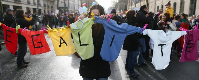 Dans une manifestation en faveur du mariage homosexuel, à Paris, en janvier 2013.