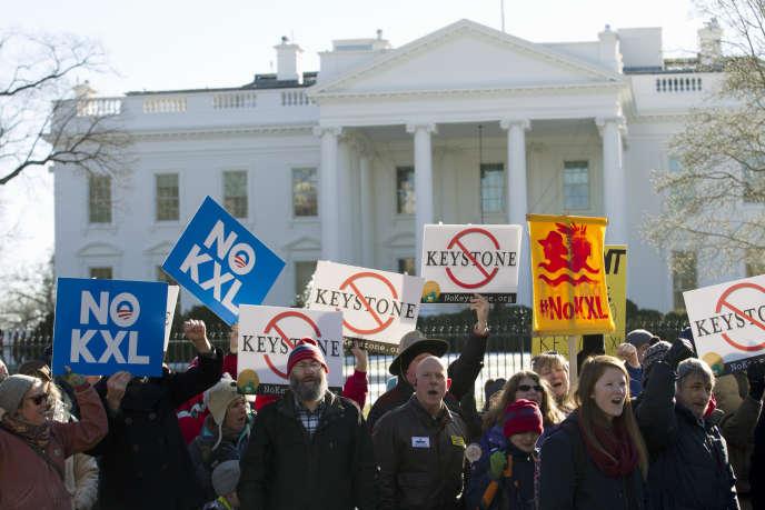 Manifestation en 2015 à Washington contre le projet de l'oléoduc Keystone XL