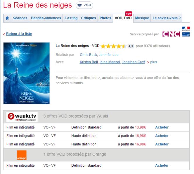 Fiche du film La Reine des Neiges sur Allocine.fr, avec en dessous le dispositif du ministère de la culture et du Centre national du cinéma qui liste les offres légales pour le visionner en ligne, parmi 12 grandes plateformes.