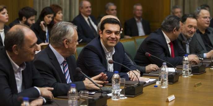 Le premier ministre de la Grèce, Alexis Tsipras, a présidé son premier conseil des ministres, le 28janvier.
