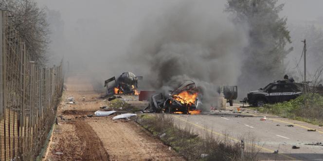 Un missile antichar lancé par des miliciens du Hezbollah a touché une convoi de troupes israéliennes près de la frontière israélo-libanaise.
