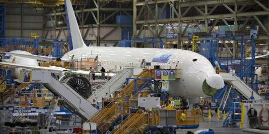 Un Boeing 787 sur sa chaîne d'assemblage à Everett, dans l'Etat de Washington, aux Etats-Unis.