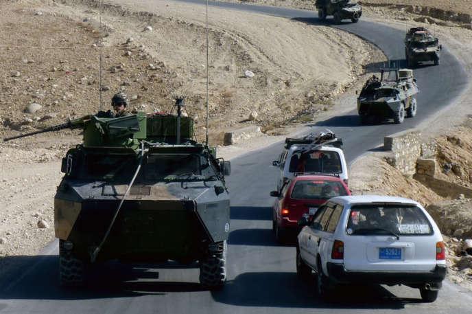 Des chars de l'armée française, dans la province de Kapisa, en novembre 2012.