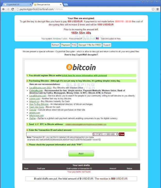 L'écran d'accueil de CryptoWall 3.0, dernière version du ransomware (rançongiciel) le plus virulent de ces dernières années.