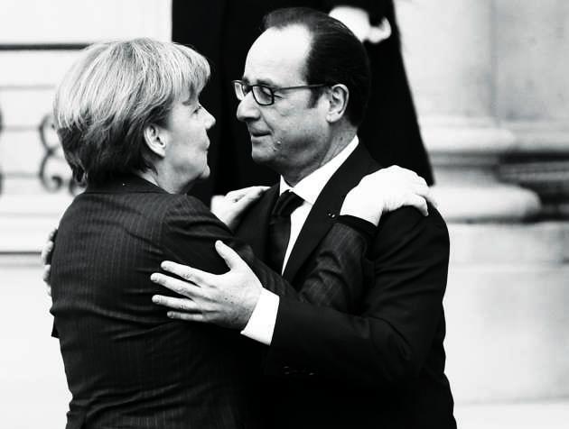 Parmi les images marquantes du 11 janvier, la complicité (voire la tendresse) affichée entre le président français et Angela Merkel.