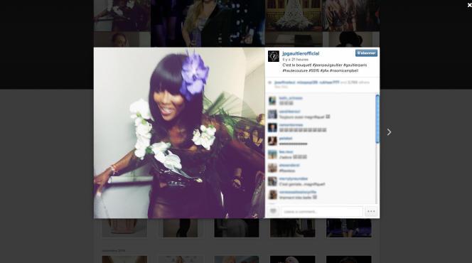 Sur le compte Instagram de Jean Paul Gaultier, les images du dernier défilé. Ici, Naomi Campbell en