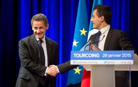 Nicolas Sarkozy et le député et maire de Tourcoing, Gérard Darmanin, le 29 janvier 2015.