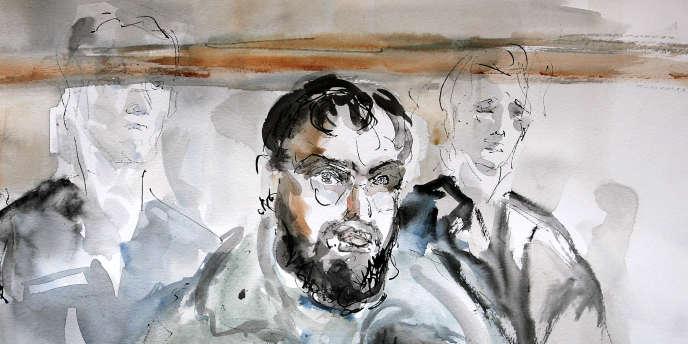 Croquis d'audience réalisé le 4 janvier 2005 au tribunal correctionnel de Paris, montrant le Franco-Algérien Djamel Beghal lors de l'ouverture du procès du réseau de terroristes islamistes accusé d'avoir voulu commettre un attentat-suicide contre l'ambassade des Etats-Unis à Paris, dans le courant de l'année 2002.