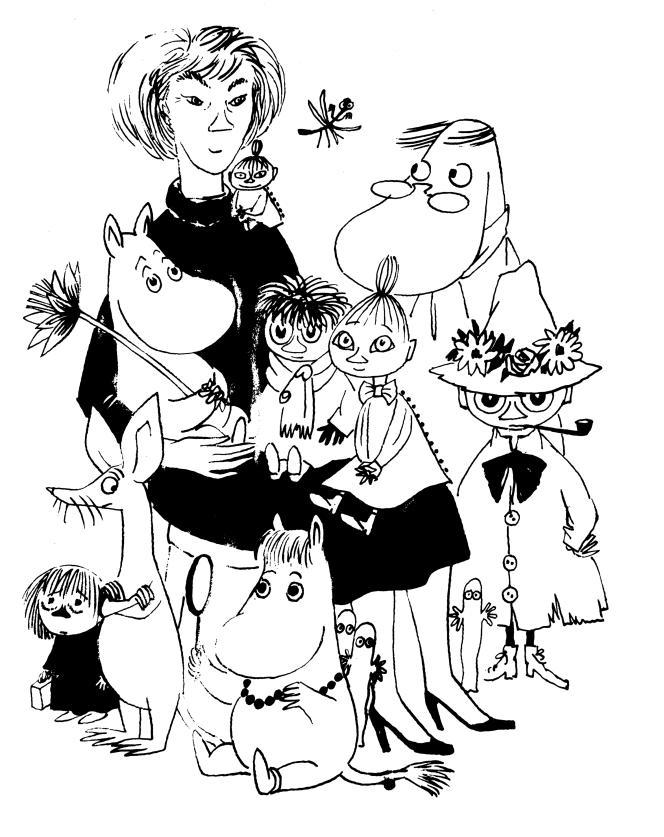 Autoportrait de Tove Jansson avec les Moomins.