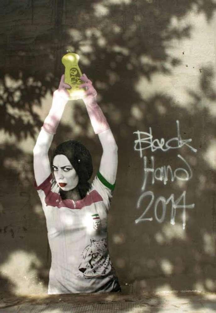 Peinture de Black Hand en hommage aux femmes interdites de matchs masculins de volley-ball à Téhéran, en 2014.