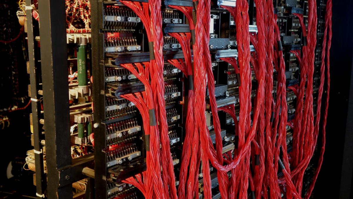 Une réplique de la machine inventée par Alan Turing au musée de l'informatique de Bletchley Park.