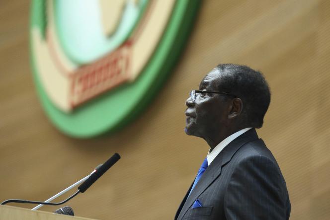 Le président du Zimbabwe et de l'Union africaine, Robert Mugabe, lors du 24e sommet de l'organisation panafricaine à Addis Abeba.