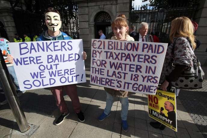 Lors d'une précédente manifestation à Dublin, en octobre 2014, contre la facturation de  l'eau potable  à usage domestique.