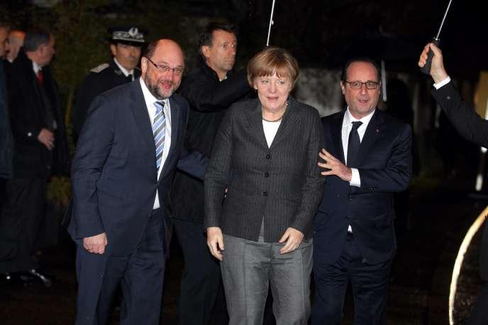 François Hollande, Angela Merkel et Martin Schulz, le 30 janvier, a Strasbourg.