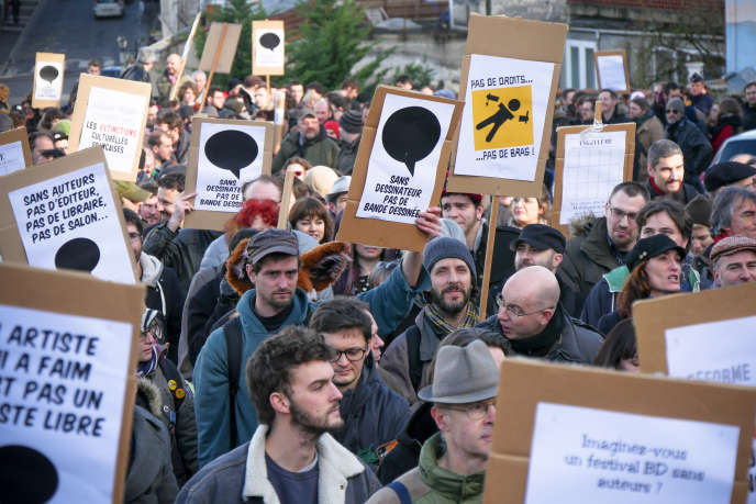 Manifestation des auteurs de BD, samedi 31 février à Angoulême.
