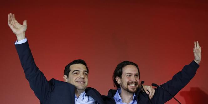 Pablo Iglesias, leader du parti espagnol Podemos avec Alexis Tsipras, nouveau premier ministre grec.