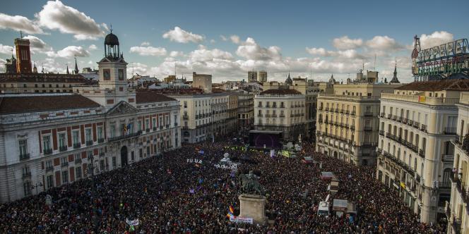 Lors de la manifestation de Podemos à Madrid, le 31 janvier 2015.