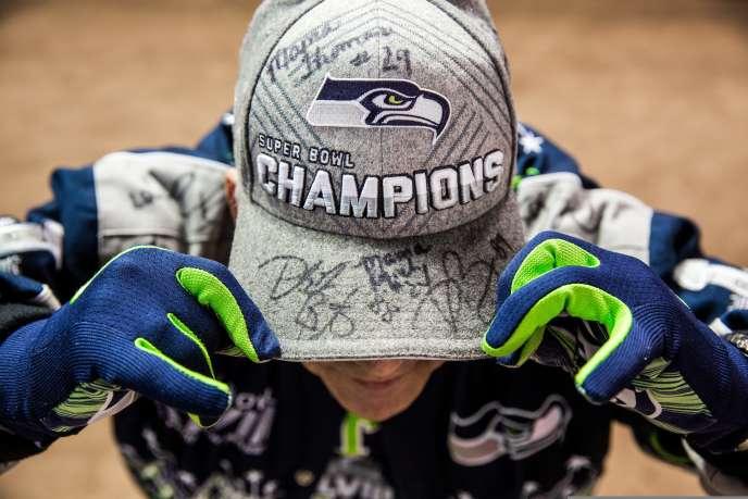 Un fan des Seahawk de Seattle à la veille de la finale du Super Bowl le 31 janvier.