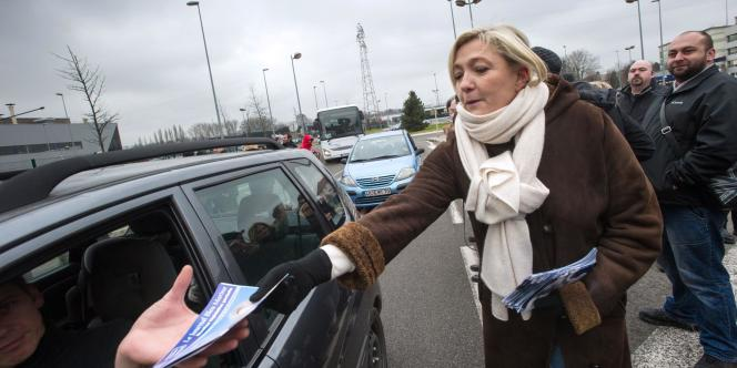 Marine Le Pen, venue soutenir la candidate du FN dans le Doubs le 23 janvier.