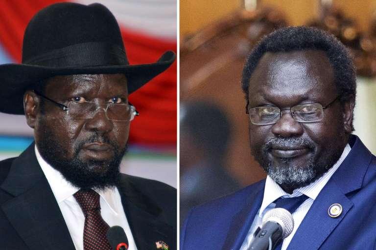 Le président sud-soudanais Salva Kiir (à gauche) et son vice-président Riek Machar (à droite).