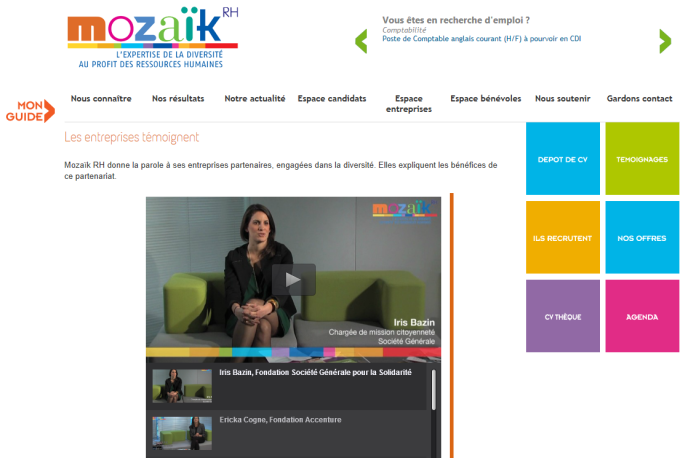 Page d'accueil du site Mozaïk RH (capture d'écran).