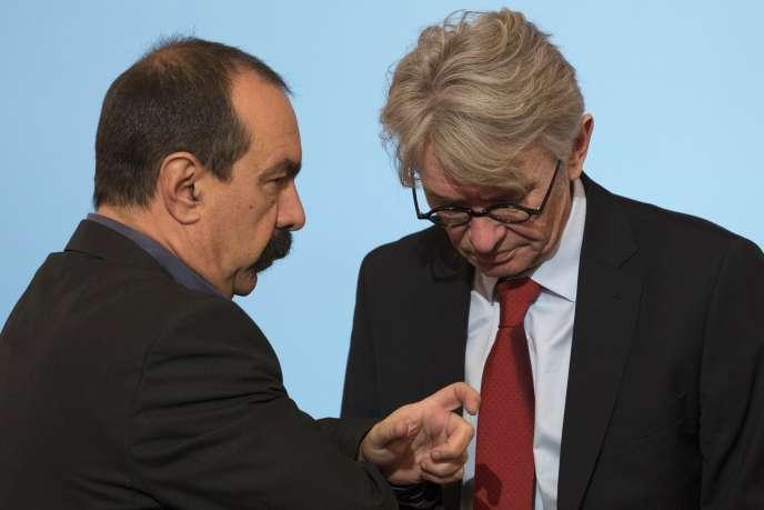 Philippe Martinez (CGT) et Jean-Claude Mailly (Force ouvrière) à l'Elysée en janvier 2015.