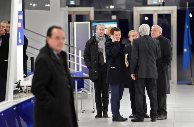 Franck Riester, Gérald Darmanin, Roger Karoutchi, Alain Lamassoure, après le bureau politique de l'UMP, mardi 3février.