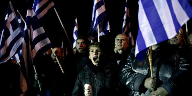 Des membres d'Aube dorée en Grèce, le 31janvier.