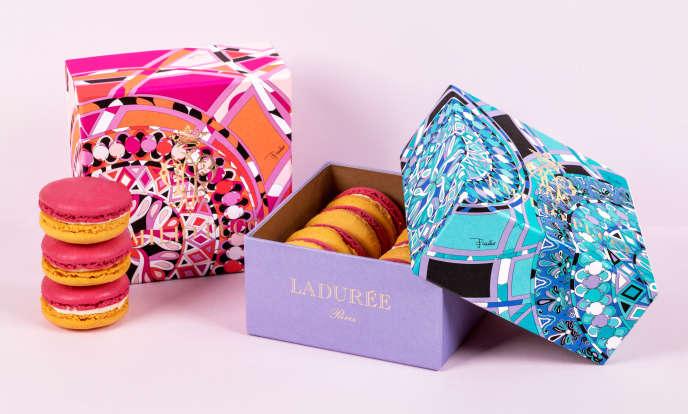 Les deux coffrets de 8 macarons citron-rose Ladurée aux couleurs de la maison Pucci, disponibles à partir du 25 février dans les boutiques parisiennes.