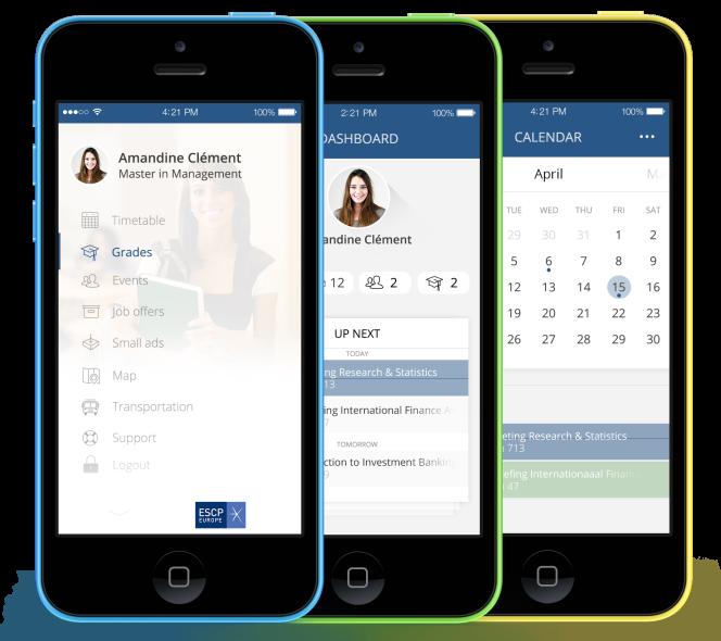 L'application permettra d'afficher son agenda, ses résultats scolaires et les changements de planning.