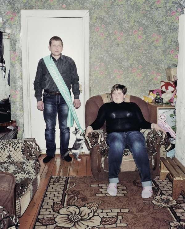 Agrogorodok Borsuki, le 28 février 2013. La famille Sogchev, vainqueurs du concours de Lord of the village de l'Union de la jeunesse républicaine biélorusse.