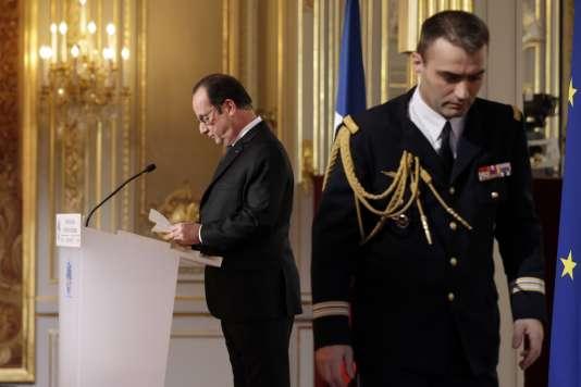 François Hollande lors de la cinquième conférence de presse de son quinquennat, à l'Elysée le 5 février 2015.