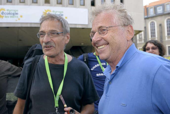 Jean-Paul Besset et Daniel Cohn-Bendit, à Clermont-Ferrand, en 2011.