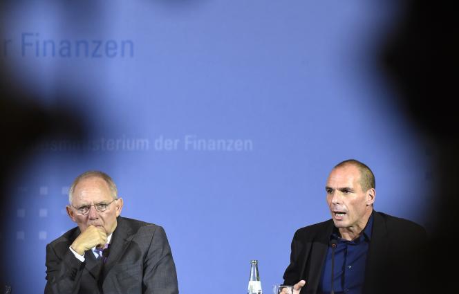 Wolfgang Schäuble et Yanis Varoufakis à Berlin le 5 février.